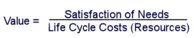 Value = Satisfaction of Needs over Life Cycle Costs (Resources)